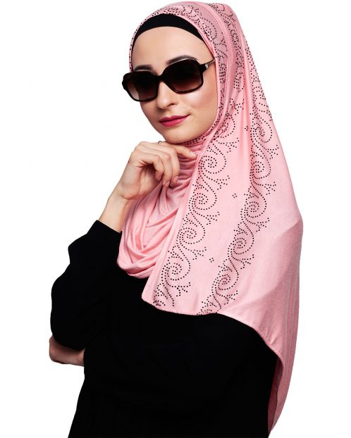 Trendy Stone Work Peach Hijab