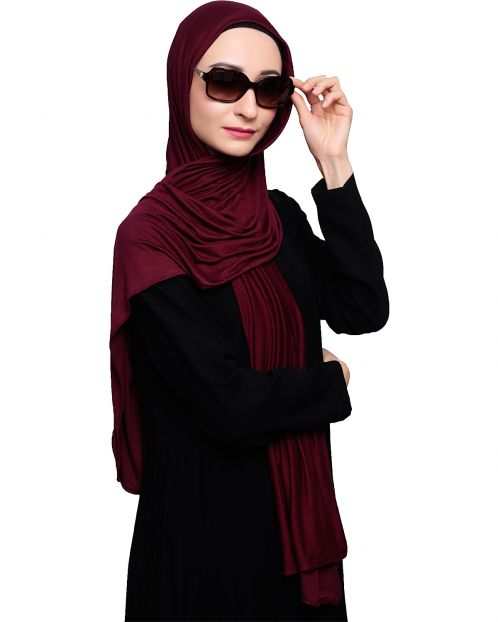 Modest Wine Jersey Hijab