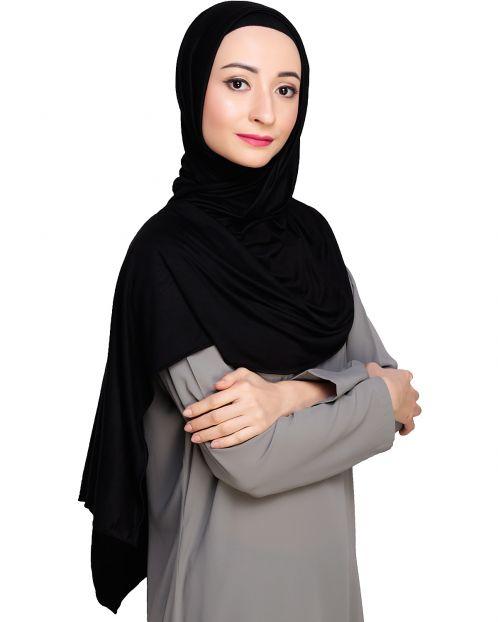 Modest Black Jersy Hijab