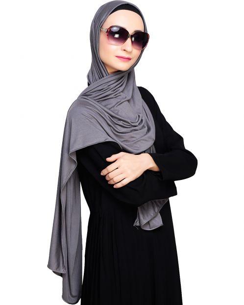 Modest Grey Jersy Hijab