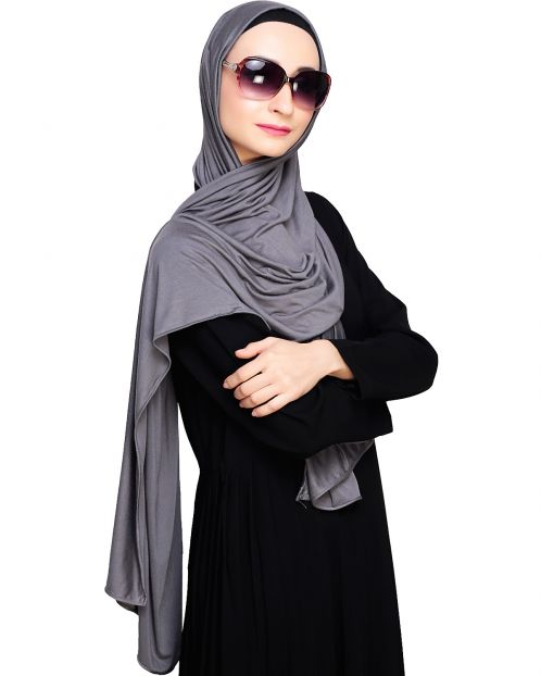 Modest Grey Jersey Hijab