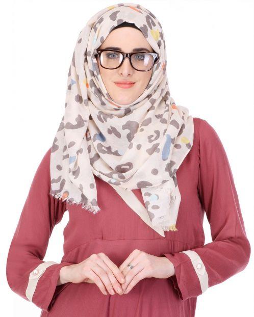 Off White Multi Coloured Splatter Print Hijab