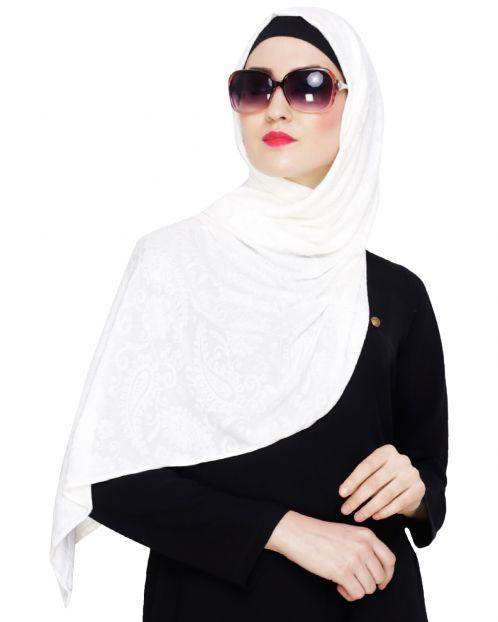 White Jaquard Jersey Hijab