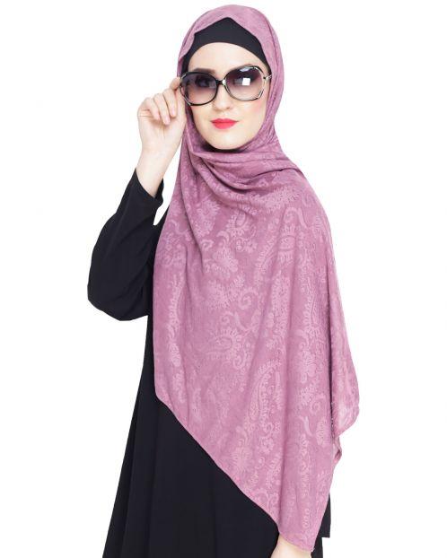 Onion Pink Jaquard Jersey Hijab