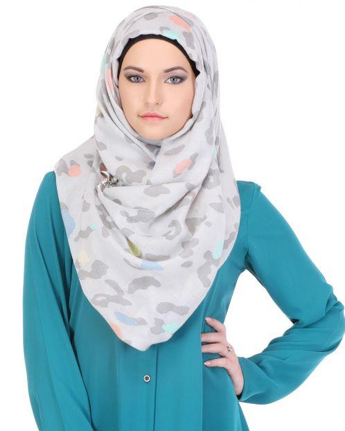 Grey on Grey Printed Casual Hijab
