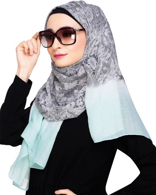 Muticolour Abstract Print Mint Green Hijab