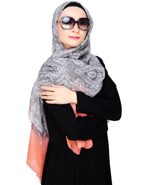 Muticolour Abstract Print Orange Hijab