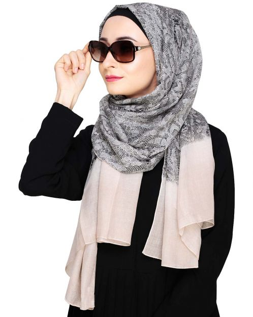Muticolour Abstract Print Beige Hijab