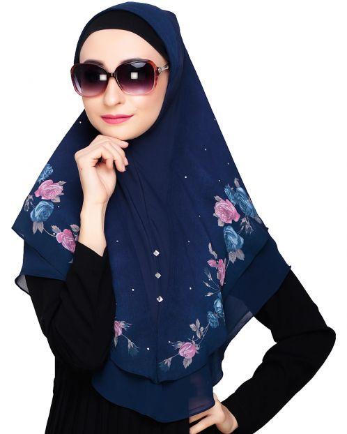 Modish floral Blue Instant Hijab