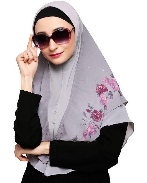 Modish floral Grey Instant Hijab