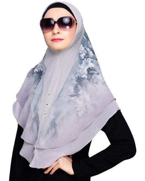 Ravishing Grey Instant Hijab