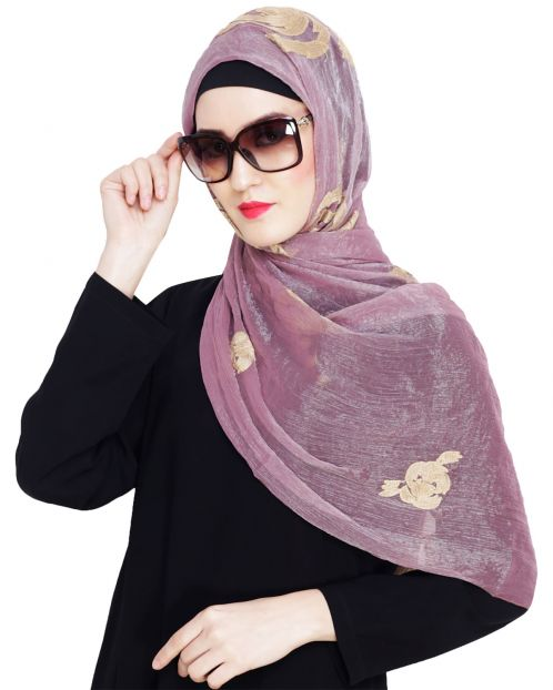 Blossom Oinion Pink Embroidered Hijab