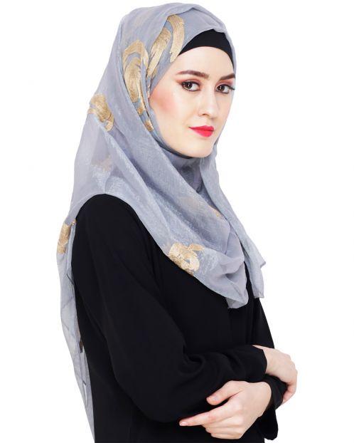 Blossom Grey Embroidered Hijab