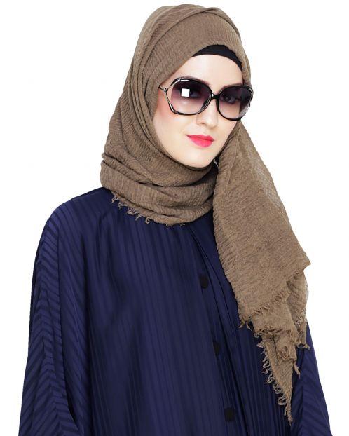 Crinkled Cotton Olive Hijab