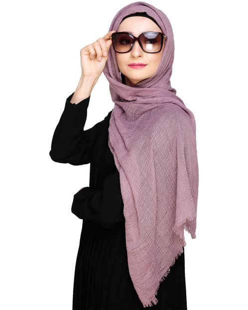Crinkled Cotton Lilac Hijab