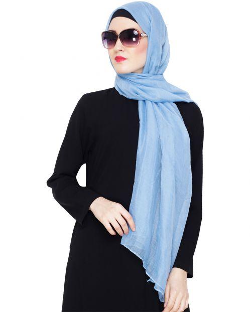 Comfy Light Blue Cotton Hijab