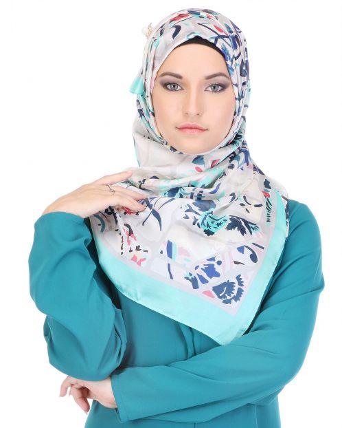 White printed Hijab with Sky Blue Border