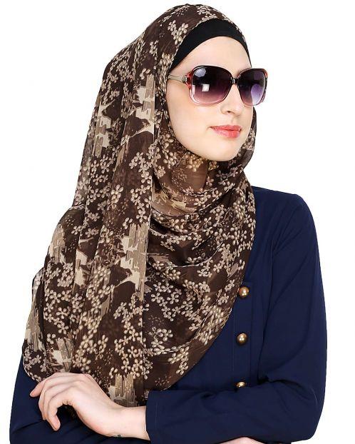 Brown Printed Instant Hijab