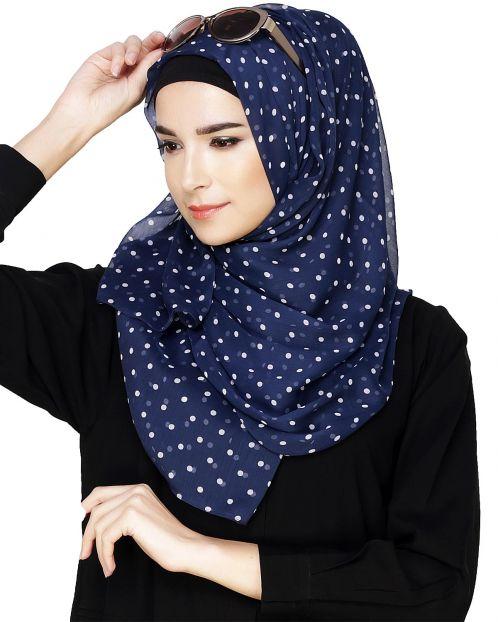 Blue Small Polka Dots Hijab
