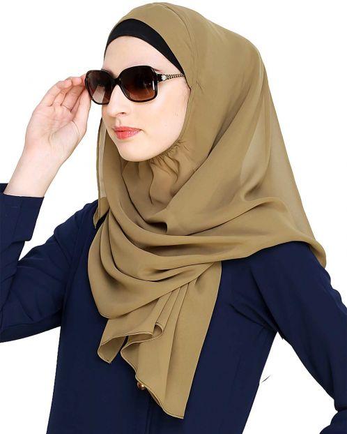 Plain Olive Instant Hijab