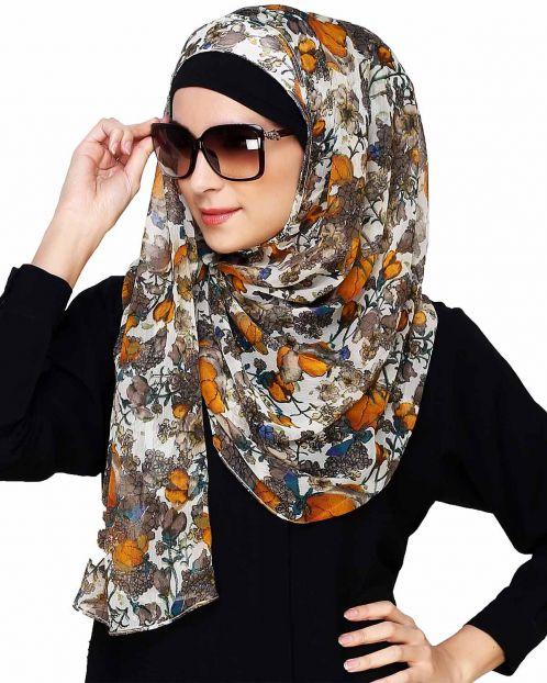 Multi Color Floral Print Instant Hijab