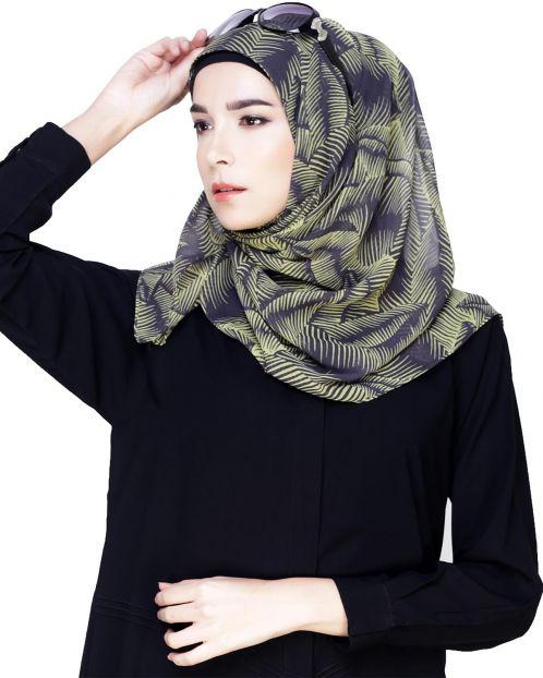 Leaf Print Instant Hijab