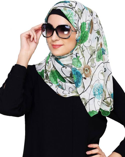 White & Green Floral Print Instant Hijab