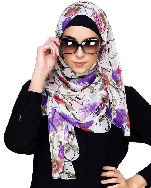 White & Purple Floral Print Instant Hijab