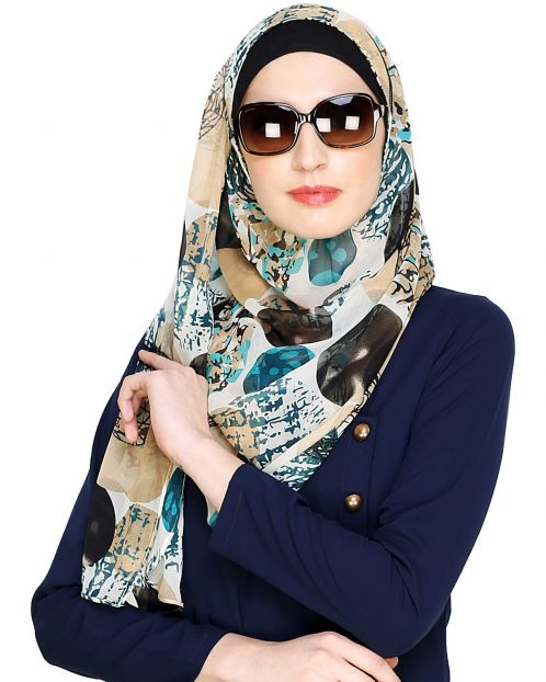 Green & Black Abstract Print Instant  Hijab