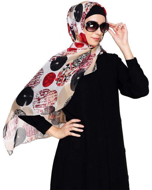 Red & Black Abstract Print Hijab