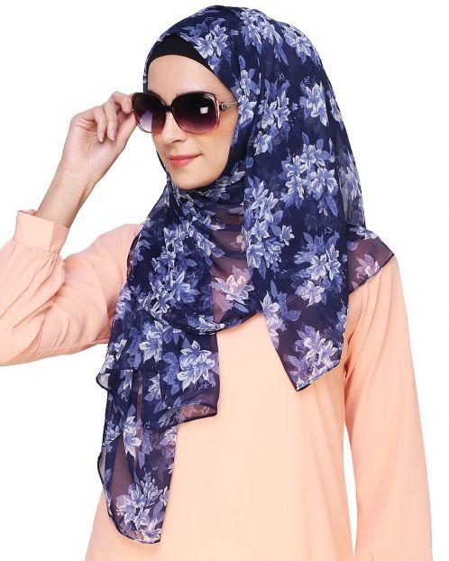 Blue Midnigth Floral Print Instant Hijab