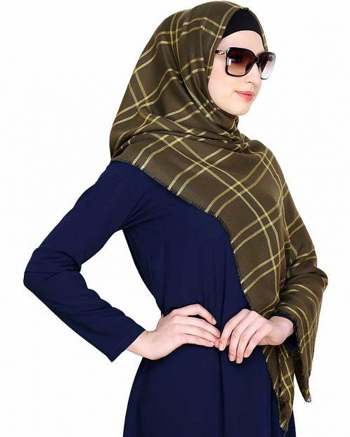 Checkered Green lemon Hijab