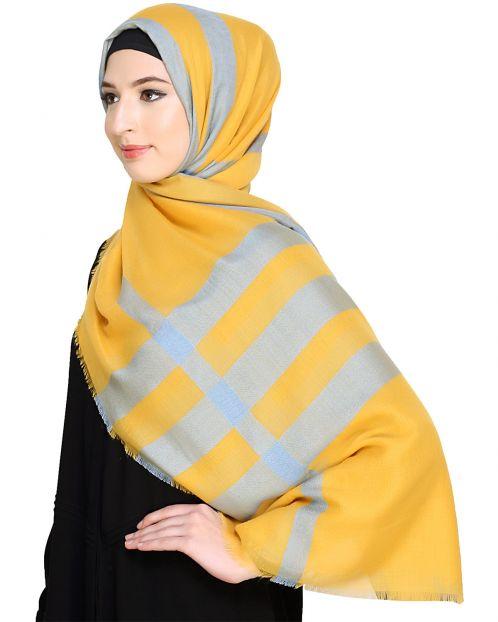Wide Checkered Yellow Hijab
