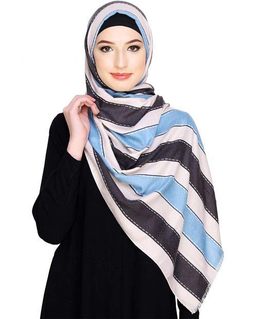 Light Blue Bold Stripe Hijab