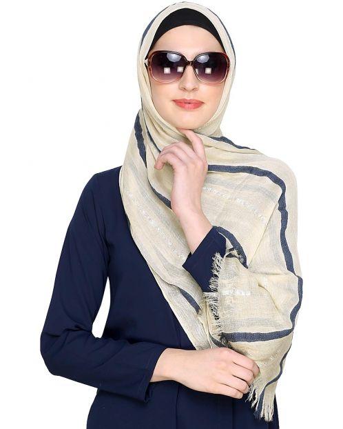 Cream Striped Hijab