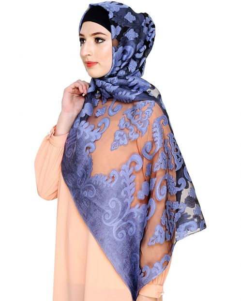 Blue and Black Brasso Hijab