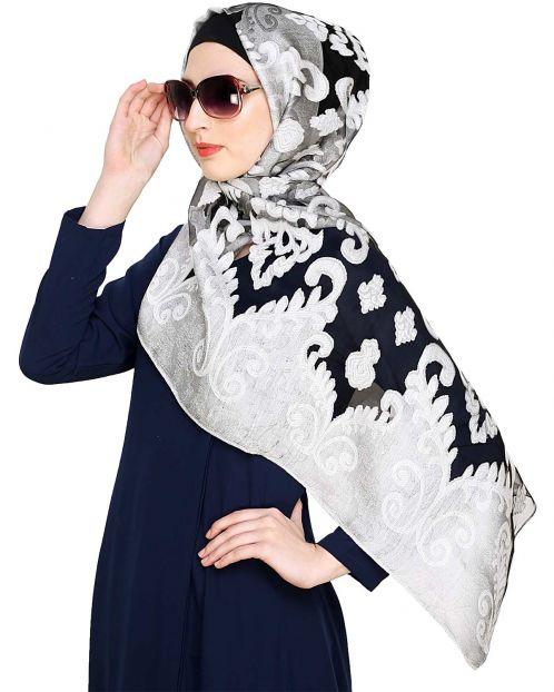 Grey and Black Brasso Hijab