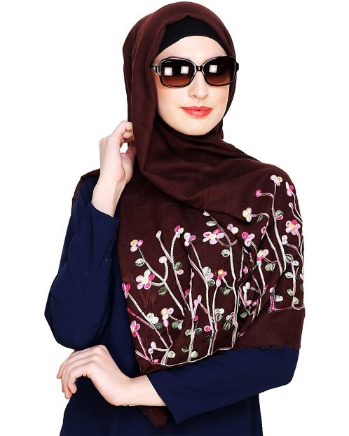 Brown Hijab with Floral Embroidery