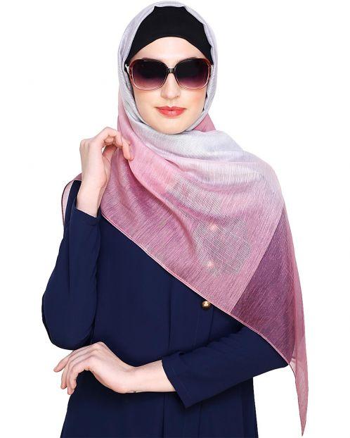 Pink & Grey Ombre Organza Hijab