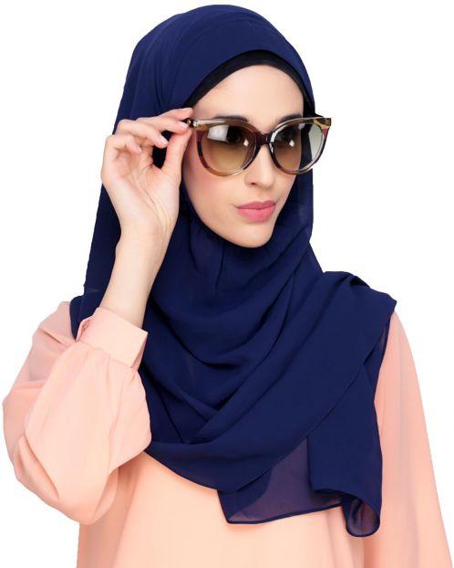 Plain Cobalt Blue Instant Hijab