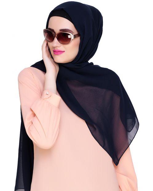 Plain Dark Blue Silk Georgette Hijab