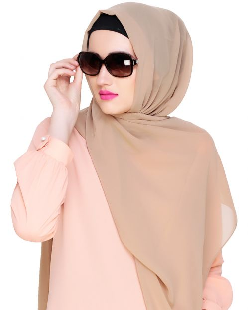 Plain Beige Silk Georgette Hijab