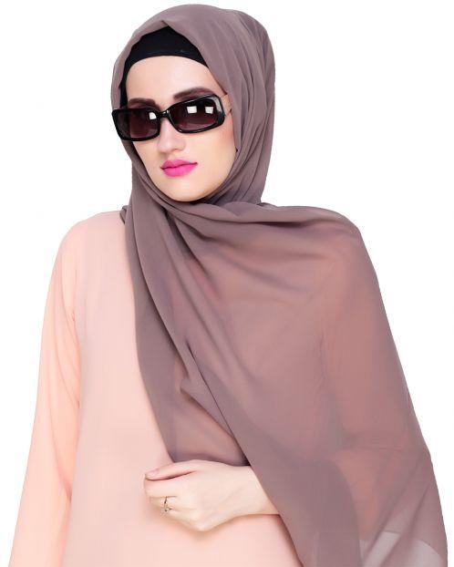 Plain Mud Grey Silk Georgette Hijab