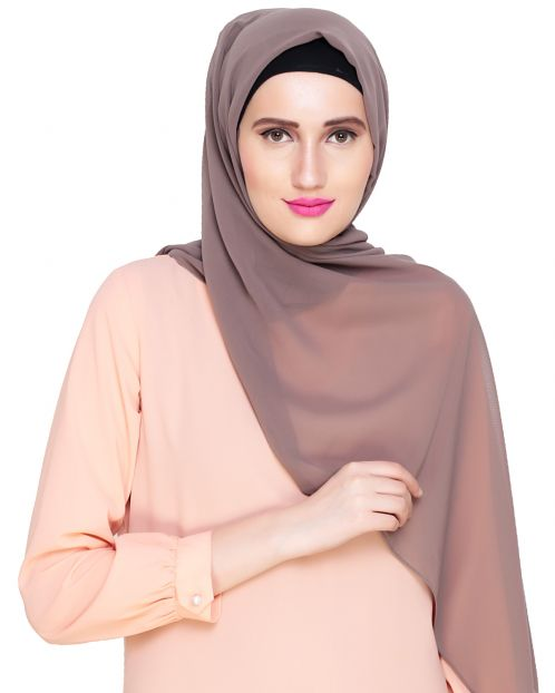 Plain Mud Grey Silk Georgette Hijab