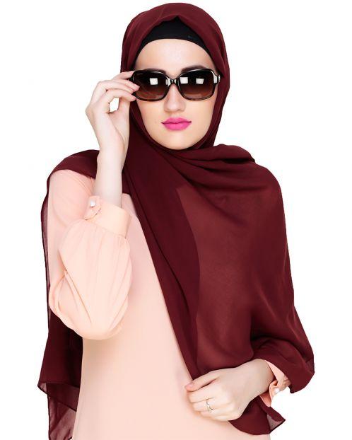 Plain Dark Maroon Silk Georgette Hijab