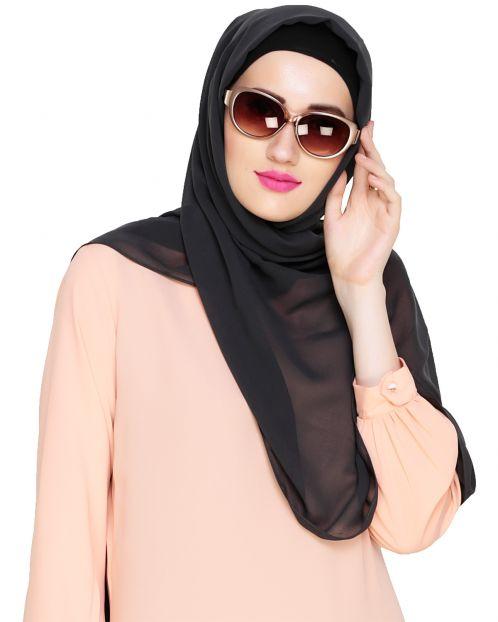 Plain Dark Grey Silk Georgette Hijab