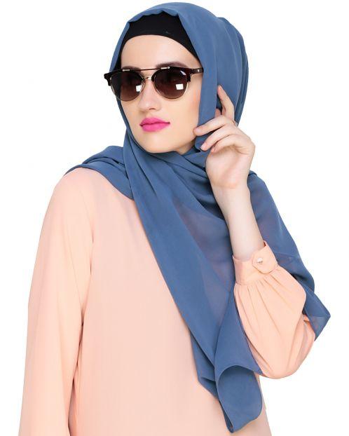 Plain Light Blue Silk Georgette Hijab