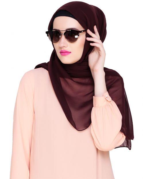 Plain Wine Silk Georgette Hijab