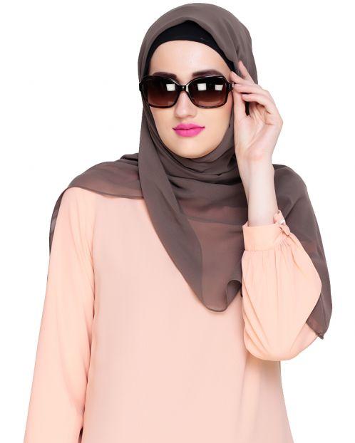 Plain Oak Brown Silk Georgette Hijab