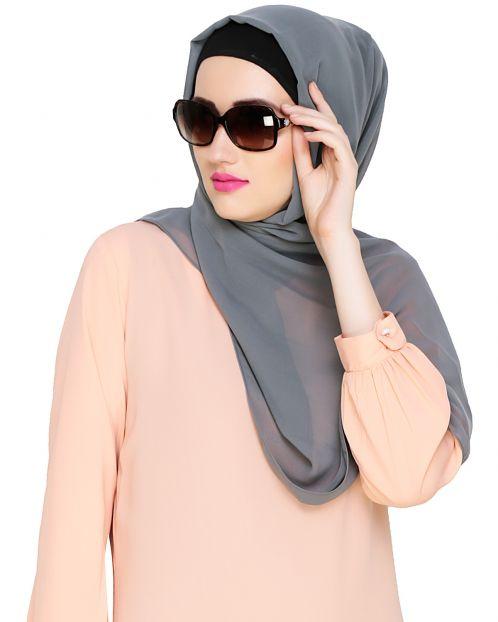 Plain Light Grey Silk Georgette Hijab